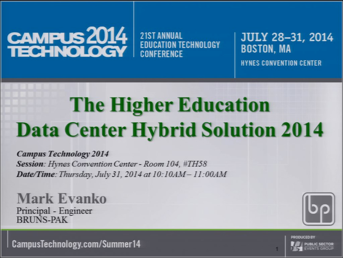 Campus Technology 2014 - The Higher Education Data Center Hybrid Solution